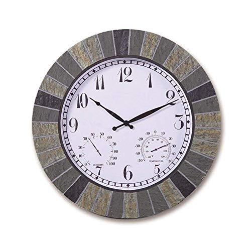 NLRHH Garten-Uhren für den Außenbereich, wasserdicht, groß mit Temperatur und Luftfeuchtigkeit, für den Außenbereich, Wandmontage, feuchtigkeits- und staubdicht, Kunstharz, rund, 35,6 cm, Wandfarbe
