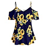 Forwelly Women Discount Plus Size Clothing Sunflower Printed Ruffles Cold Shouder Short Sleeve Tops (5XL, Navy)