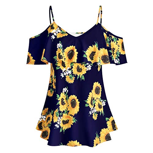 Euone Womans Shirts Clearances, Plus Size Women Sunflower Printed Camis Short Sleeve Ruffles Cold Shouder Blouse Navy