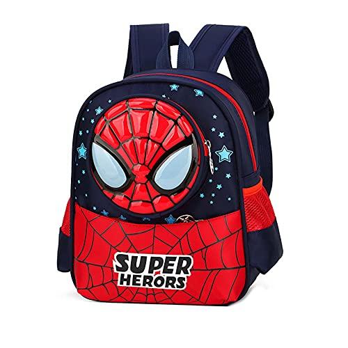 Xyh723 Mochila para Niños Spider-Man Satchel Boys Superhéroe Escolar Niño Mochila Impermeable Adolescentes Dibujos Animados Viaje Almuerzo Regalo,Dark Blue-One Size