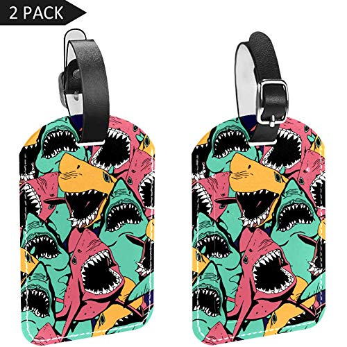 Luggage Tags Seamless Sharks Leather Travel Suitcase Labels 2 Packs