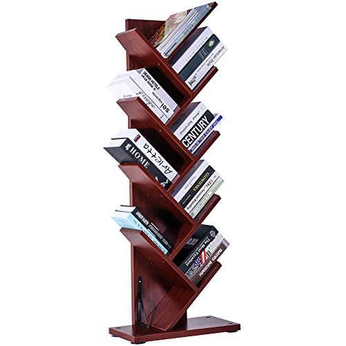 SUPERJARE 9-Shelf Tree Bookshelf, Thickened Compact Book Rack Bookcase, Display Storage Furniture for CDs Movies and Books - Cherry