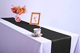 BALIBETOV Pack of 12 Satin Table Runners 12 x 108 inch for Wedding, Reception and Any Party (Black)