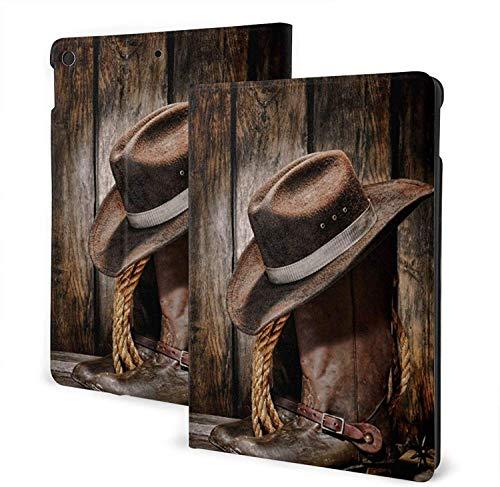 Vintage American Western Cowboy Hat and Boot I-Pad 7th Generation Funda de Cuero de 10,2 Pulgadas Soporte antirrayas con Auto Sleep / Wake-iPad Air3 10.5-One Size