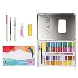 nakw88 Agua Color Bloques Acuarela Pintura 72pcs / Set 48 Colores Acuarela Pigmentos con Pincel para Pluma Pincel para Estudiante Infantil Principiante Profesional Artistas - Rosa, Free Size