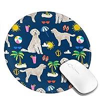 """ゴールデンレトリバービーチの夏の犬のマウスパッド、デスクトップ、コンピューター、PC、ラップトップ用のスリップ防止天然ゴム製マウスマット、自宅/オフィスでの作業およびゲーム用、7.9""""X 7.9"""""""