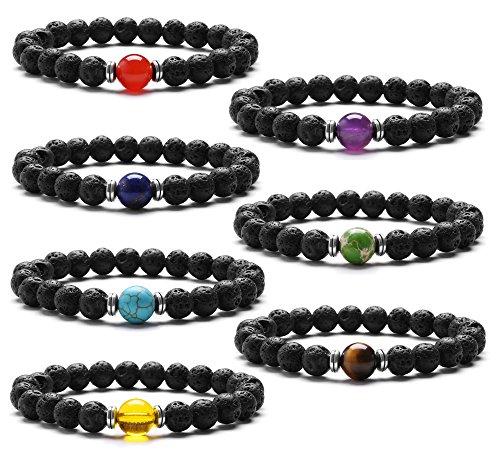 Armbänder Damen Herren Perlen Stein Armband Elastisch Armband 8mm Chakra Perlen Armband Yoga Armband Lava Armband Armbänder Damen Set Geschenk zum Muttertag Vatertag Geburtstag Jubiläum Abschluss