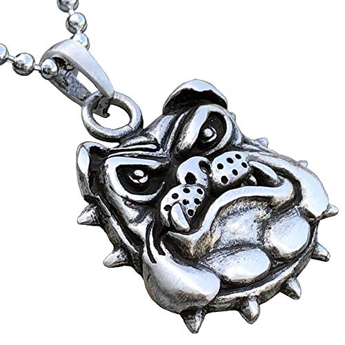 Bulldog Jewelry K-9 Bull Dog Jack Georgetown Marines corps USMC Military Pewter Men's Pendant Necklace Protection Amulet Wealth Good Luck Lucky Charm Safe Travel Talisman for men Silver Ball Chain