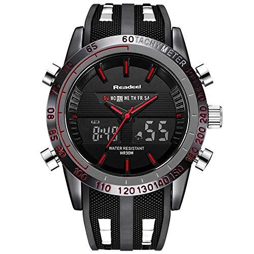 Reloj de pulsera para hombre, resistente al agua, militar, analógico, digital, con cronógrafo multitiempo, banda de goma para hombres