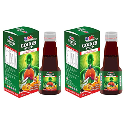 30M Ayurvedic Cough Syrup with Goodness of Tulsi, Honey & Ginger (2 x 100ml) for children, adults - Cough, Sore throat, common cold - Pack of 2