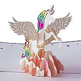 Tarjeta de cumpleaños 3D Unicornio con Arcoíris, regalo para mujer y hombre, creativa, hecho a mano, para dar las gracias o un cumple infantil, con sobre y con papel de aluminio