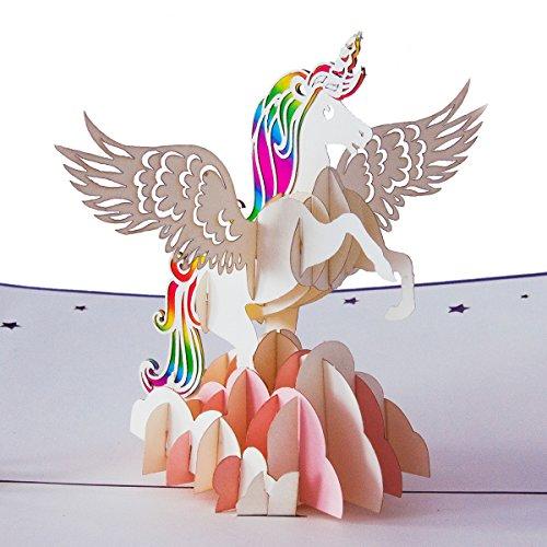"""3D Geburtstagskarte """"Einhorn Regenbogen"""", Karte zum Geburtstag, Geburtstagsgeschenk für Frauen, für Männer, Geschenkkarte, kreativ handgefertigt, kindergeburtstag, mit Umschlag und Folie, Pop Up Karte"""