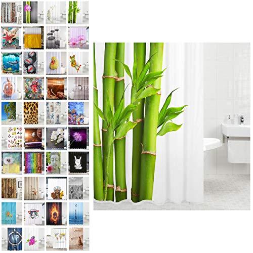 Sanilo Duschvorhang, viele schöne Duschvorhänge zur Auswahl, hochwertige Qualität, inkl. 12 Ringe, wasserdicht, Anti-Schimmel-Effekt (Bambus, 180 x 200 cm)