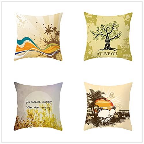 Niuqichongtian Fundas de cojín para sofá, jardín, decoración de hogar, decoración de fiestas y árboles, color beige y gris claro