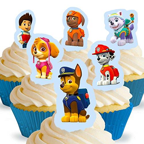 Cakeshop 12 x Vorgeschnittene und Essbare Aufrecht Stehende Paw Patrol Kuchen Topper (Tortenaufleger, Bedruckte Oblaten, Oblatenaufleger)