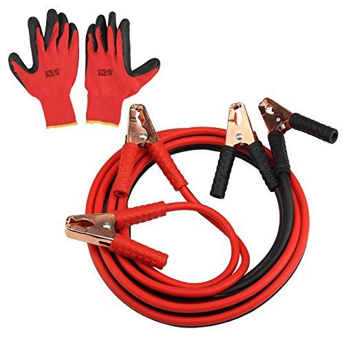 Cables de arranque con pinzas de AllRight, para coche, camioneta, 800A, de 4m y guantes de trabajo