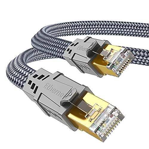 Cat 7 Netzwerkkabel 2m, Snowkids Hochgeschwindigkeits Ethernet Kabel 10Gbps 600MHz Flach Nylon geflochtener professioneller vergoldeter STP-Kabel CAT 7 RJ45 Ethernet-Kabel für Router, Modem, Switch