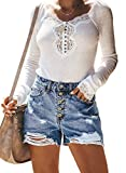 Sidefeel Women High Rise Hot Pants Ripped Denim Jean Shorts Medium Light Blue