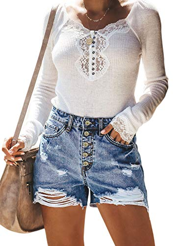 Sidefeel Women High Rise Hot Pants Ripped Denim Jean Shorts XL Light Blue