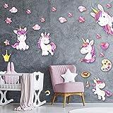 Set grande di unicorni per baby zimmer - Tatuaggio da parete Camera per bambini Set di adesivi - set di 130x30 cm - Adesivi murali colorati autoadesivi - Adesivi murali Camera per ragazze