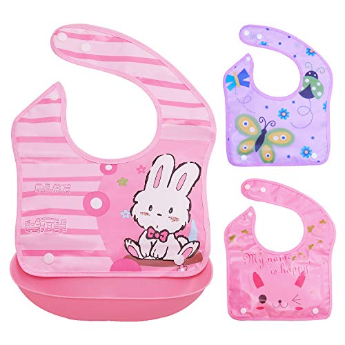 Baby Bibs with Soft Plastic Food Catcher - Set of 3 Bibs and 1 Tray - Waterproof, Reusable and Washable - Drool and Feeding Bib for Babies, Toddlers, Infants, Newborns - Set 2