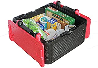 Flip Box Large Cooler/Insulation Box (Red) - Fits 45 Cans, Collapsible, Light Weight, Food Safe - Perfect for Picnics, Groceries, Tailgating, Camping
