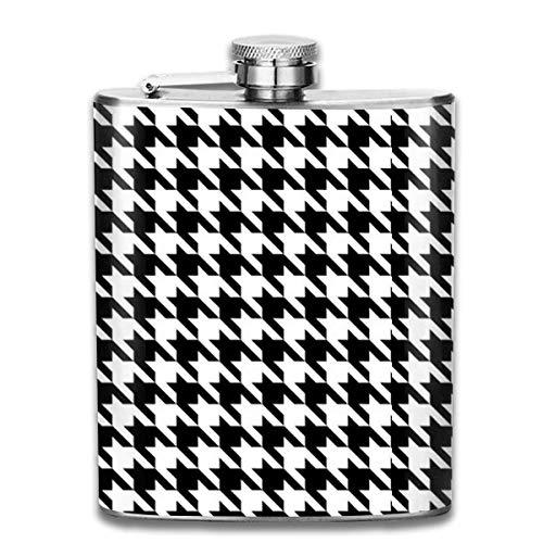 Vorgefüllte Flaschen für Schnaps, Schwarz-Weiß-Hahnentritt 7 Unzen Edelstahl-Flachmann mit Aufdruck zum Trinken von Schnaps, z. Whiskey, Rum, Scotch,