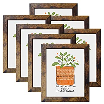 8x10 Picture Frame Rustic Brown Frames Fits 8 by 10 Inch Prints Wall Tabletop Display 7 Pack