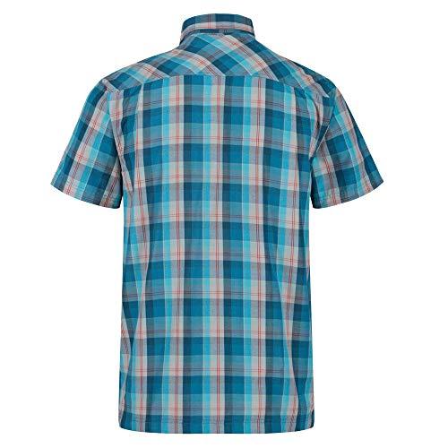 Regatta Kalambo V-Camisa Deportiva De Cuadros, Manga Corta Y Tejido De Secado Rápido Shirts, Hombre, Olympic Teal, XL