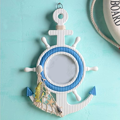 Anchor Bilderrahmen Dekorative Hintergrundmauer Hauszusatzgeschenke 23 * 33.5 * 2.5cm 2PCs (Fisch + doppelte Segelwand dekorativ)
