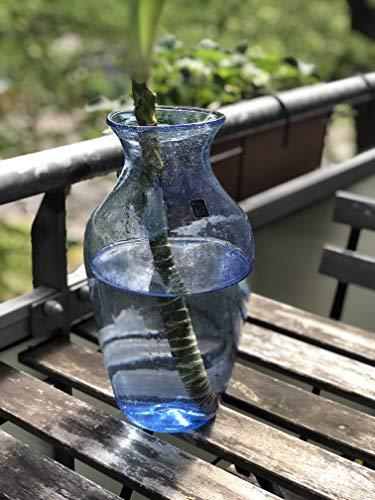 Maison Zoe Glasvase aus Recycling-Glas Belina - Hellblau - blau - groß - Durchmesser ≈ 12cm Höhe ≈ 29cm - 100% Handmade - Blumenvase - Vase mundgeblasen - Dekovase - Tischvase
