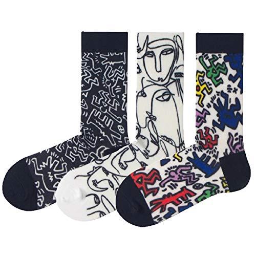 ROBIN LOUIS ® Calcetines altos con dibujos hombre y mujer, estampados originales para invierno y verano con cuadros famosos, divertidos. Diseños atractivos y elegantes. (Contemporáneo 5)