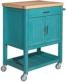 Powell Furniture Conrad Kitchen Cart, Teal
