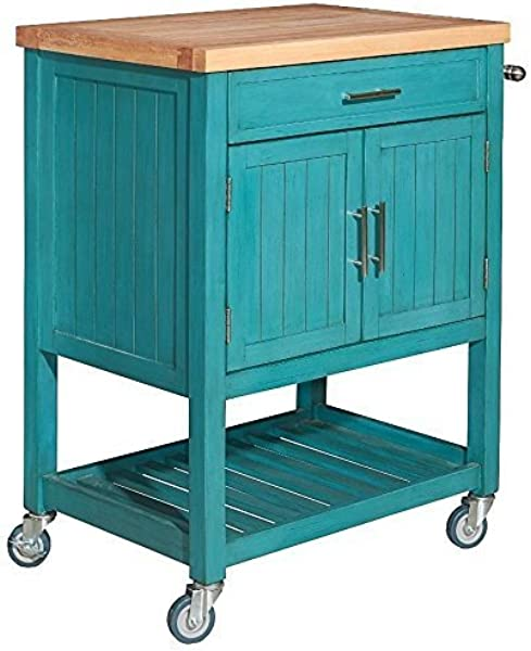 Powell S Furniture D1008A15T Conrad Kitchen Cart Teal