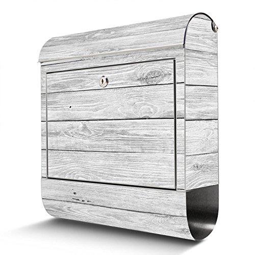 BANJADO Edelstahl Briefkasten mit Zeitungsfach   Design Motivbriefkasten   Briefkasten 38x43x12cm groß   Postkasten mit Montagematerial   2 Schlüssel Motiv Weiß Gebeizt