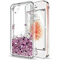 LeYi Funda iPhone SE / 5S / 5 Silicona Purpurina Carcasa con HD Protectores de Pantalla,Transparente Cristal Bumper Telefono Gel TPU Fundas Case Cover para Movil iPhone SE / 5S / 5 ZX Oro Rose