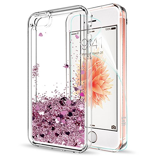 LeYi Custodia iPhone 5S / iPhone 5 / iPhone SE/iPhone SE 2 Glitter Cover con HD Pellicola,Brillantini Trasparente Silicone Gel Liquido Sabbie Mobili Bumper TPU Case per iPhone 5S ZX Rosa Rose Gold