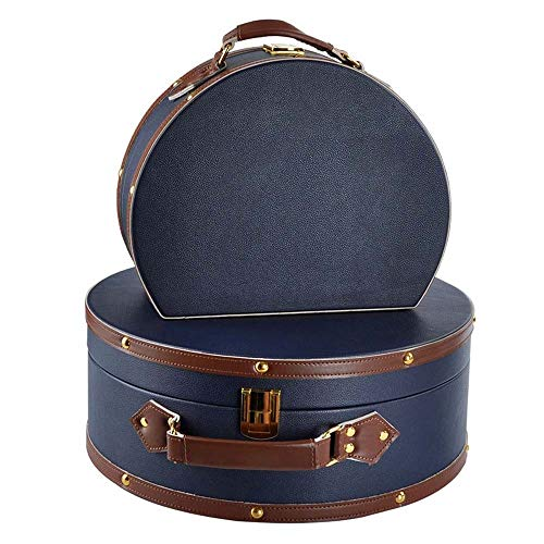 DKee home decorations Nordic Leather Suitcase Semicircular Porch Storage Box Finishing The Desktop Box Model Room Soft Furnishings Ornaments Navy Blue L, S (Size : L)
