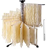 Bugucat Secador de pasta de 16 polos, secador de pasta con 16 peldaños extensibles para hasta 2 kg de pasta, tazas, toallas, varilla de transporte integrada, secador de espaguetis plegable