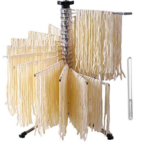 Bugucat - Stendipasta a 16 poli, 16 pioli estraibili per fino a 2 kg di pasta, asciugamani, asta per il trasporto integrata, asciuga-spaghetti, asciuga-pasta