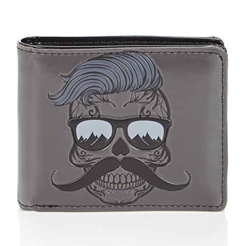 Shagwear Herren Geldbörse, Mens Wallet: Verschiedene Farben und Designs:, Hipster Skull, Large