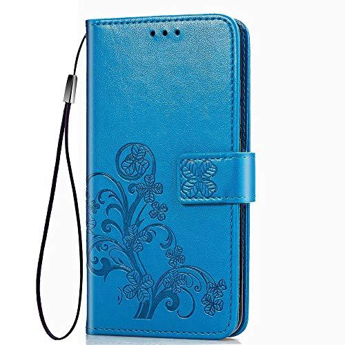 LAGUI Adatta per Cover Xiaomi Redmi 9, Custodia a Portafoglio con i Disegni in Rilievo, Dotata di Cordino. Blu