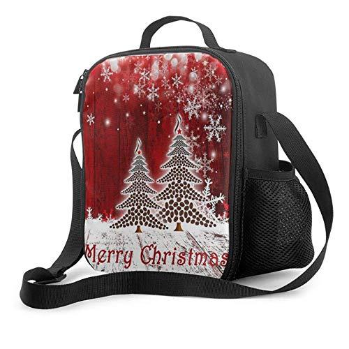 Lawenp Merry Christmas4 Bolsa de almuerzo aislada, bolsa de almuerzo plana a prueba de fugas con correa para el hombro para hombres y mujeres, adecuada para el trabajo y la oficina