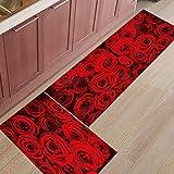 HLXX Alfombra de Puerta de Entrada con Estampado Floral de Flor de Rosa roja, Alfombra de baño, Cocina, Sala de Estar, Alfombrillas Antideslizantes A3 50x160cm