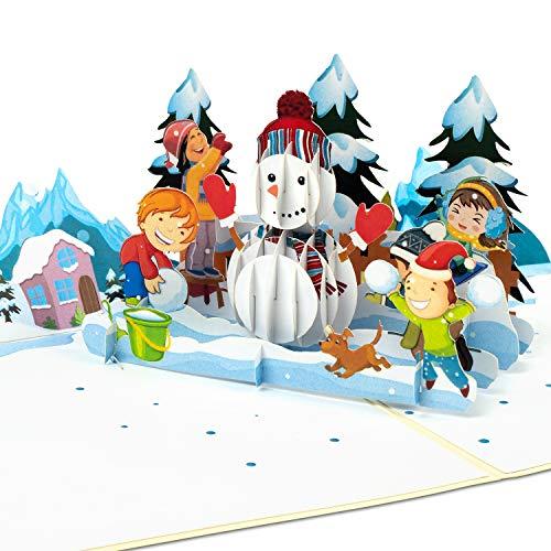 """PaperCrush® Pop-Up Karte Winter """"Schneemann & Kinder"""" - Lustige 3D Geburtstagskarte für Mädchen und Jungen - Handmade Geschenkkarte für Kindergeburtstag, Weihnachten inkl. Umschlag"""