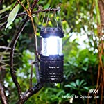 Lepro Portable LED Camping Lantern Outdoor 30 LEDs Flashlights IPX4 Water Resistant Lamp Battery Powered Light for… 11 Easy to Use. This lantern turns on by pulling up and turns off by pushing down, no button needed, very easy to use. Collapsible design allows you to adjust it for the suitable amount of light and conveniently fold it up for easy storage. Lightweight and Portable. The lamp is lightweight and small when being folded, you can easily store it in your cabin, backpack or survival kit, ideal for outdoor activities or using as an emergency light. Sufficient Brightness. With a 360-degree beam angle and 14-hour long lighting time, this lantern gives out sufficient light (140 lumen) to illuminate small places.