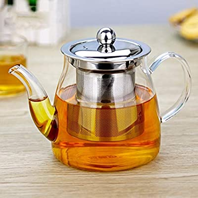 Glass Teapot, TransparentGlass Teapot,Tea Set with Stainless Steel Infuser and Lid, Borosilicate Glass Teapot Stove Safe Teapot, Flowering and Loose Leaf Teapot Set For Tea and Coffee (Upgrade 21 oz