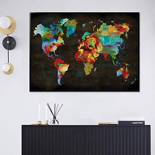 ganlanshu Abstrakte Weltkarte auf Leinwand der geografischen Plakatwandkunstwandbildungsinstitutdekoration,Rahmenlose Malerei,50x75cm