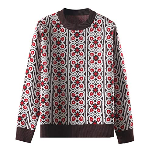 wkd-thvb Vintage Sweet Plaid Jacquard Strickpullover Frauen Lose Langarm Damen Pullover Casual Femme Coffee One Size