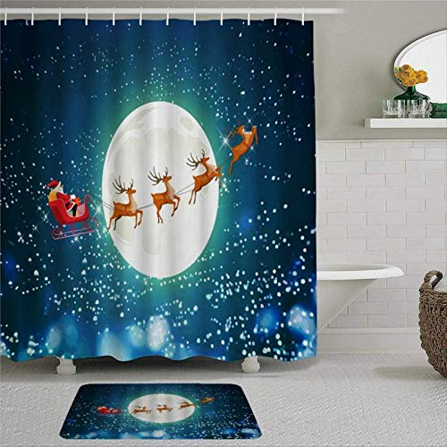 BYRON HOYLE Christmas Santa Claus Reindeer Sled Snowflake Winter Full Moon Night Cartoon Shower Curtain with Rings Polyester Fabric Shower Curtains with hooks Bath Bathroom Decor 60x72 inch